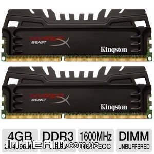 Kingston (KHX16C9T3K2/8X) HyperX Beast, 8Gb, DDR3-1600 (PC-12800)(Kit of 2x4GB)