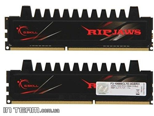 G.Skill Ripjaws (F3-10666CL7D-4GBRH), 4Gb, DDR3-1333 (PC3-10666) (Kit of 2x2Gb)