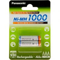 Panasonic High Capacity AAA 1000 mAh 2BP (BK-4HGAE/2BE)