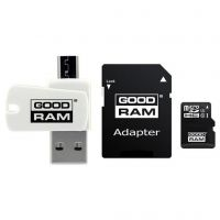 Goodram (M1A4-1280R12), 128GB, microSDXC (Class 10)+ SD-adapter + OTG Card reader